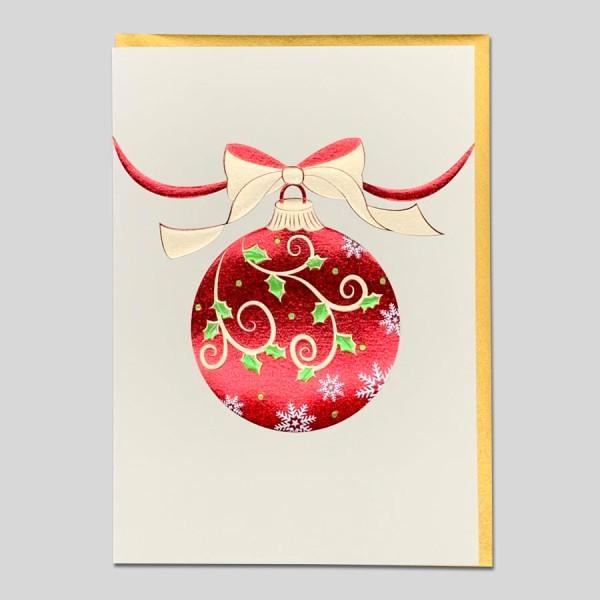 Weihnachtskarte Edel rote Kugel