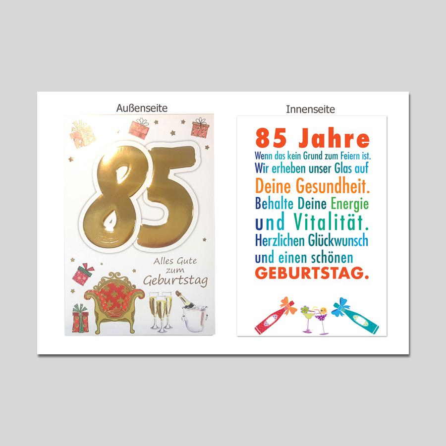 Spruch geburtstagskarte 85