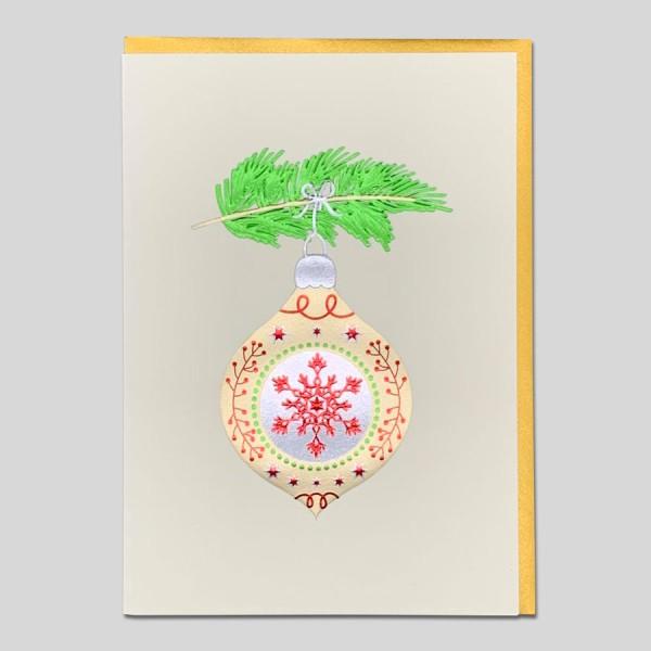 Weihnachtskarte Edel goldene Kugel
