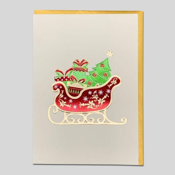 Weihnachtskarte Edel Schlitten