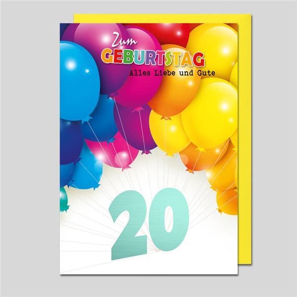 Umschlagkarte 20. Geburtstag
