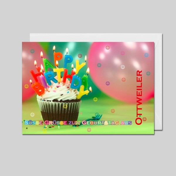 City-Cards Cupcake mit Kerzen