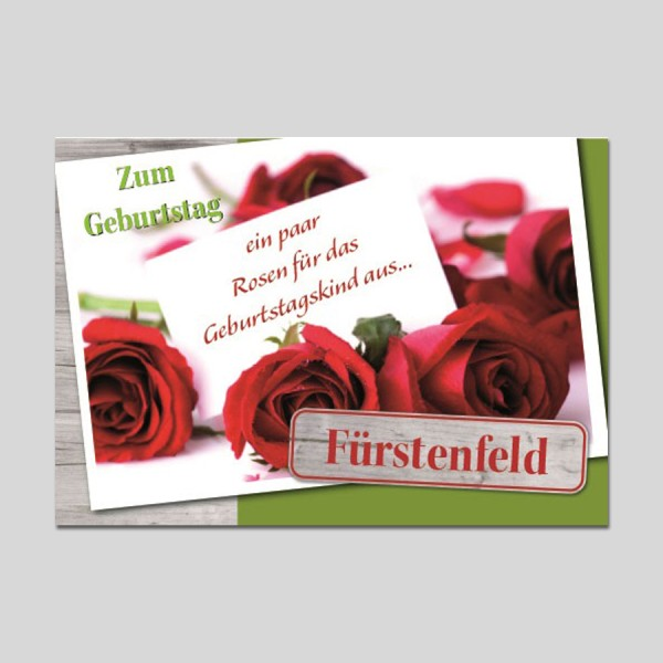 City-Cards rote Rosen