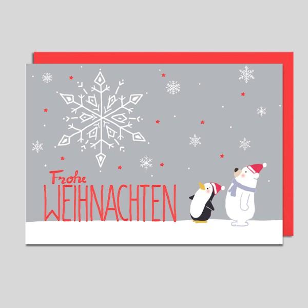 Weihnachtskarte Schneemann u.Pinguin
