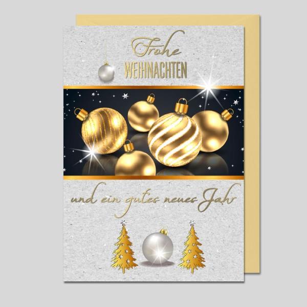 Weihnachtskarte goldene Kugeln