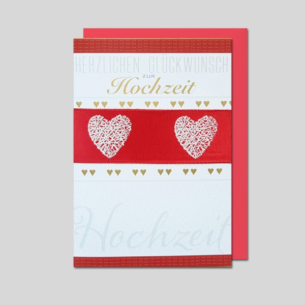 Umschlagkarte Hochzeit mit Satinband