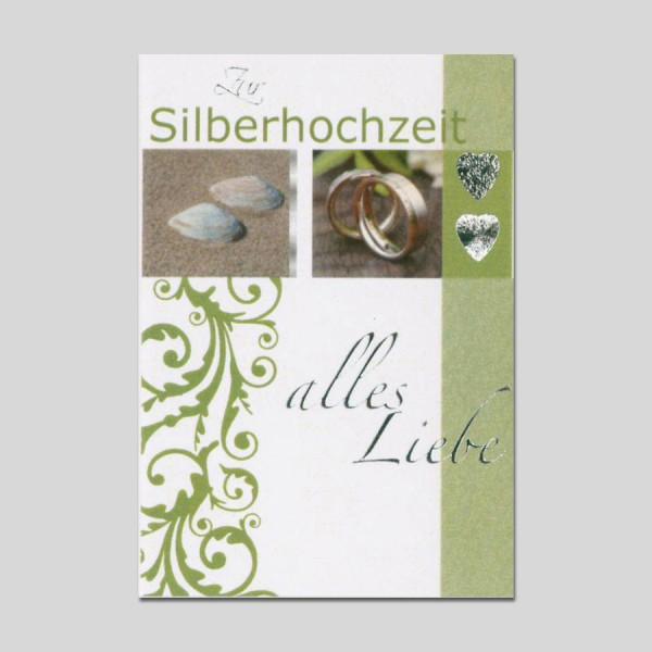 Minikarte Silberhochzeit mit Klammer