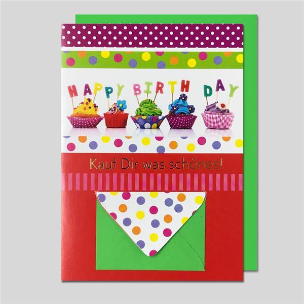 Umschlagkarte Geburtstag mit Geldumschla